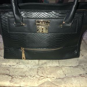 BCBG Tote Purse Bag Black gold EUC